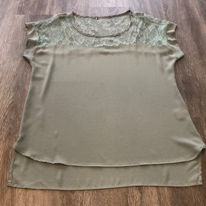 🌼$10 Short-Sleeved Blouse with Lace Neckline